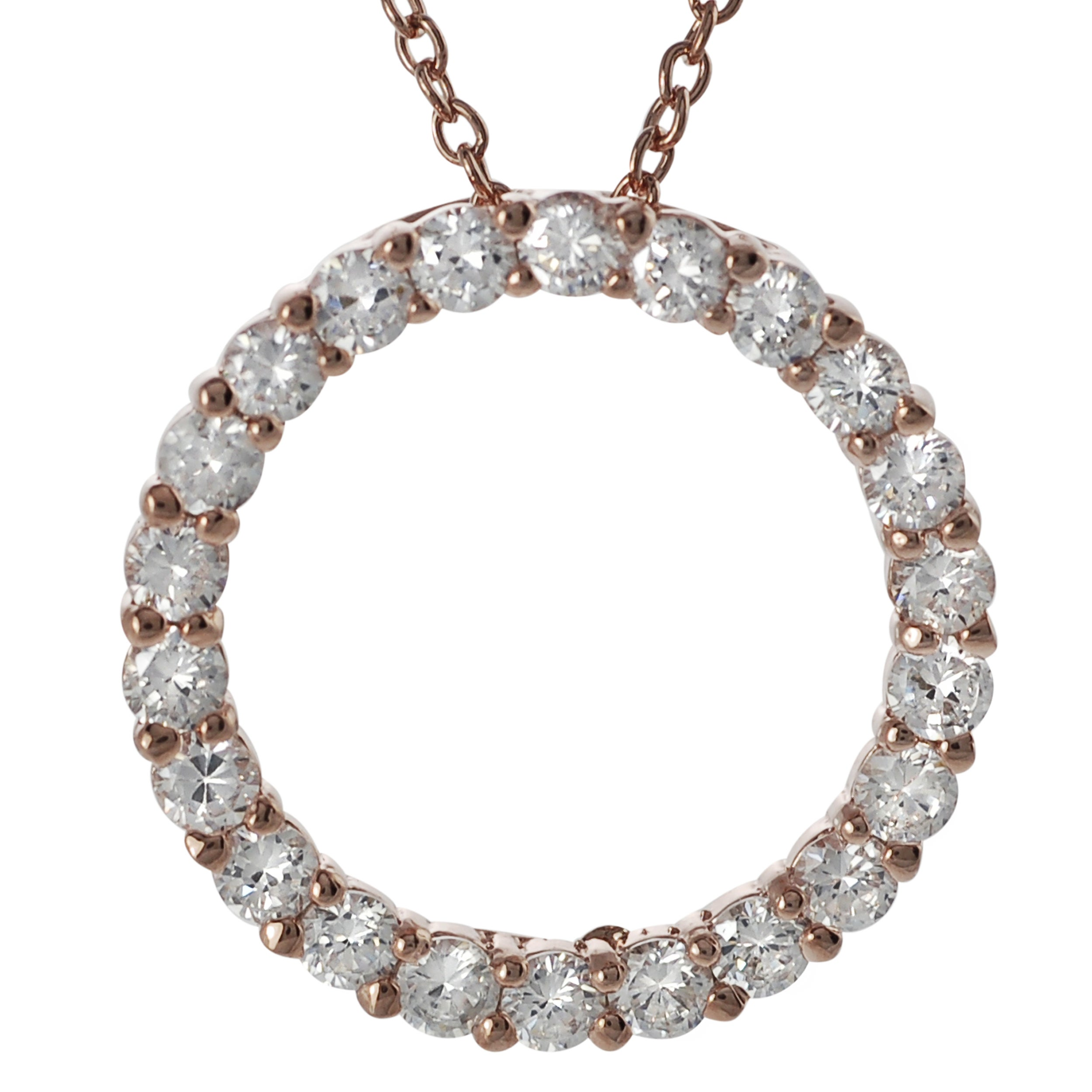 Journee Collection Rose Gold-plated Silver White Cubic Zirconia Circle Necklace