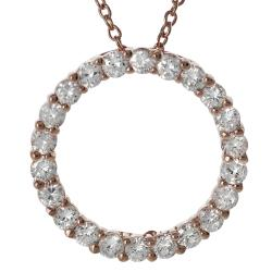 Tressa Rose Gold-plated Silver White Cubic Zirconia Circle Necklace