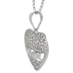 Tressa Sterling Silver White Cubic Zirconia 'Mom' Heart Necklace