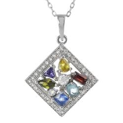 Tressa Sterling Silver Multi-colored Cubic Zirconia Necklace