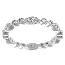 Tressa Collection Sterling Silver CZ Stipple-finish Eternity Bridal & Engagement Ring
