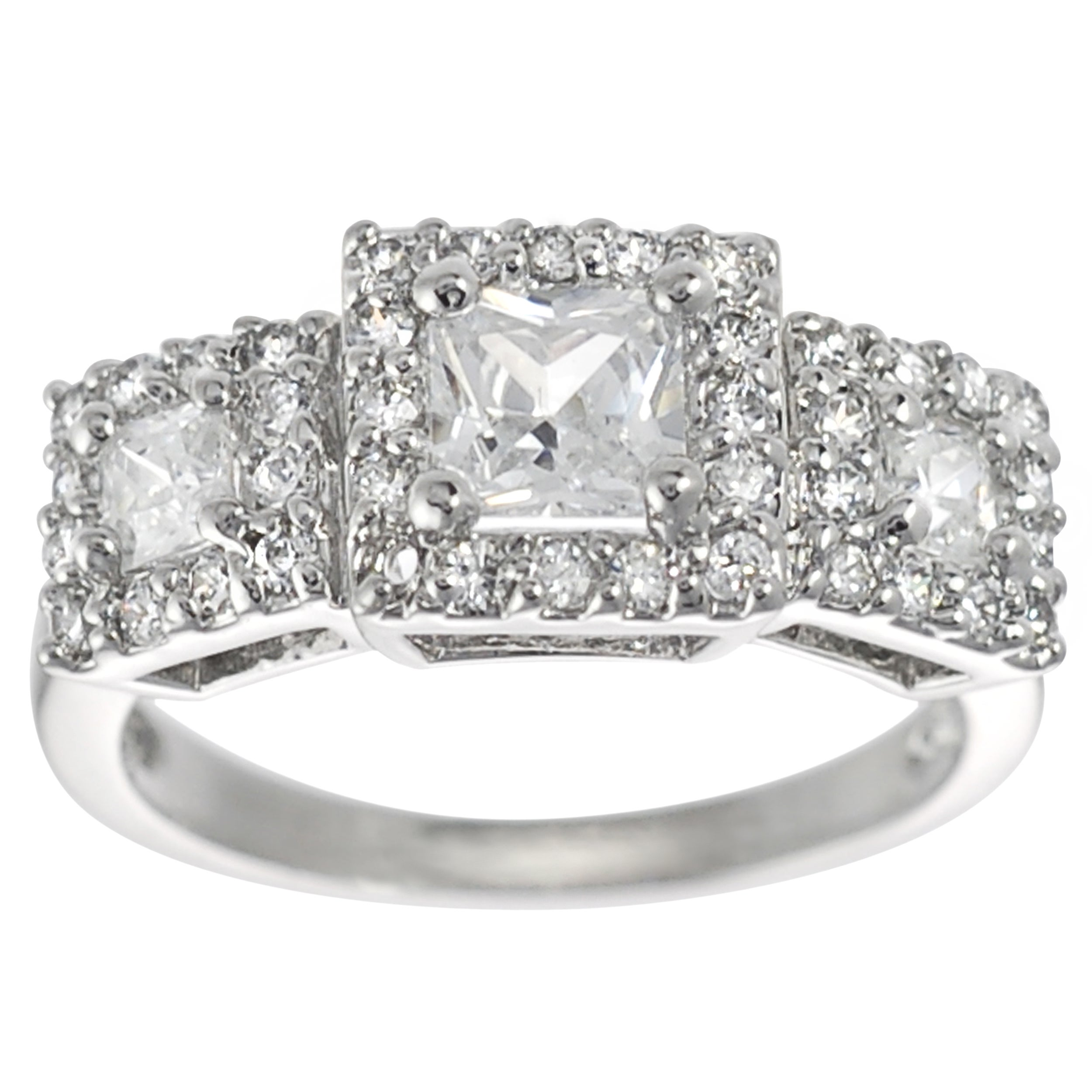 Journee Collection Sterling Silver Princess-cut Cubic Zirconia Engagement Ring