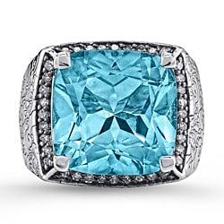 Sterling Silver Blue Topaz 2/5ct TDW White Diamond Ring (JK, I2-I3)