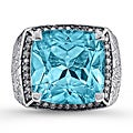 Sterling Silver Blue Topaz 2/5ct TDW White Diamond Ring (JK, I2-I3)