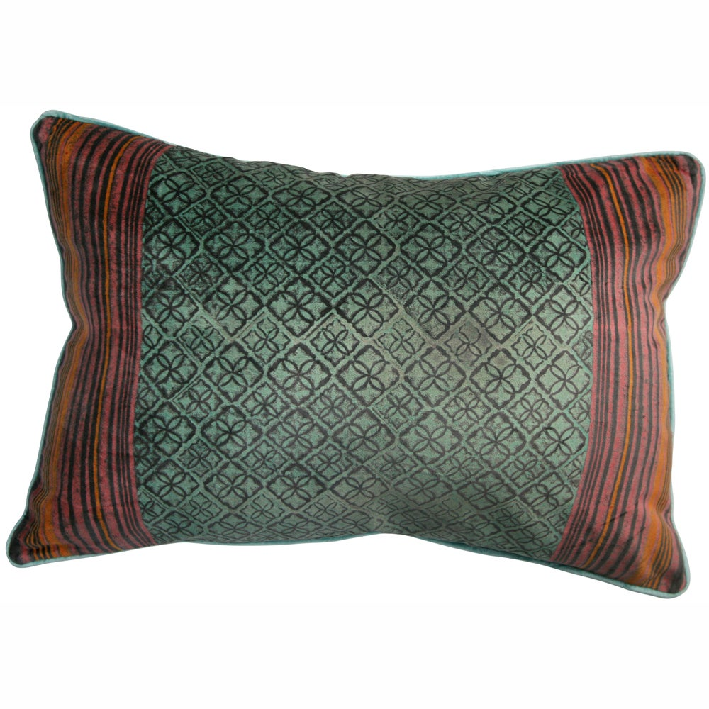 nuLOOM Handmade Ethnic Chic Aqua Decorative Pillow