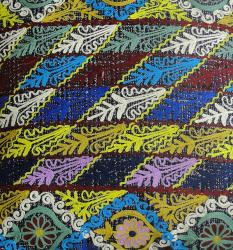 Handmade Ethnic Chic Embroidered Multicolor Floral Stripe Design Square Decorative Pillow