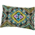 Handmade Ethnic Chic Embroidered Multicolor Floral Plaid Design Oblong Decorative Pillow