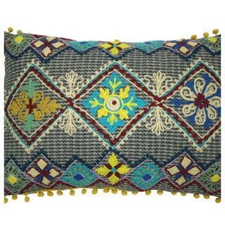 Handmade Ethnic Chic Embroidered Multicolor Triple Floral Design Oblong Decorative Pillow