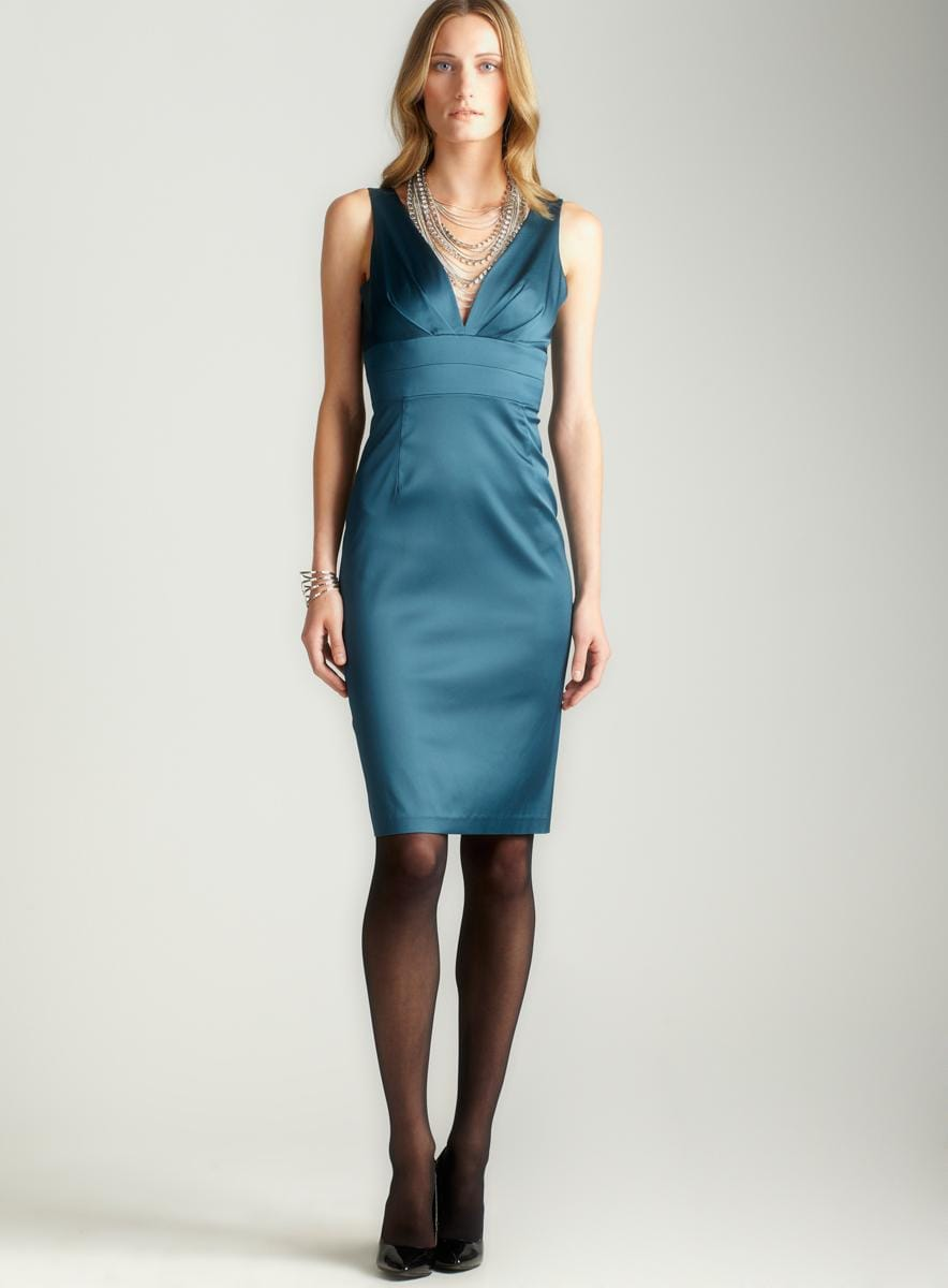 Donna Ricco Surplice Tie Back Fitted Dress
