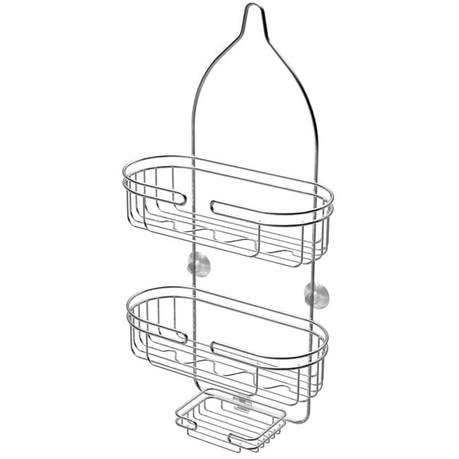 ATHome Chrome-Plated Steel Shower Caddy with Soap Dish
