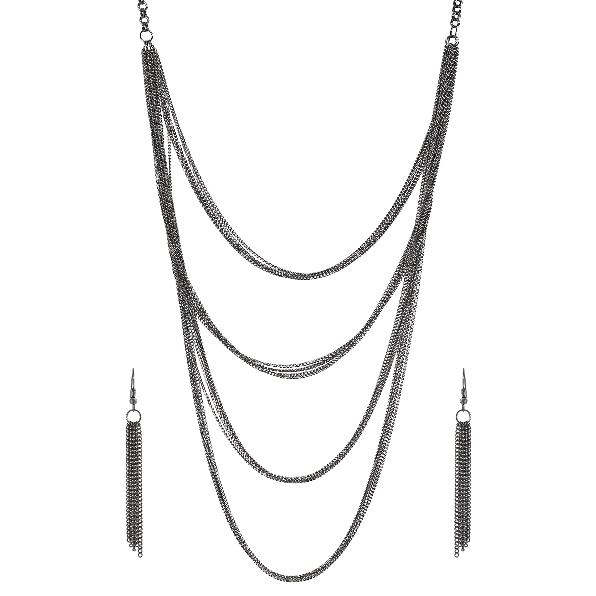 Journee Collection Rhodium-plate Base Chain Mail Necklace Earring Set