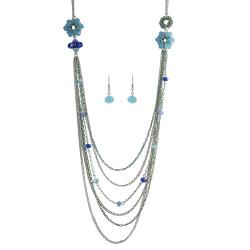 Journee Collection Silvertone Base Crystal Enamel Necklace Earring Set