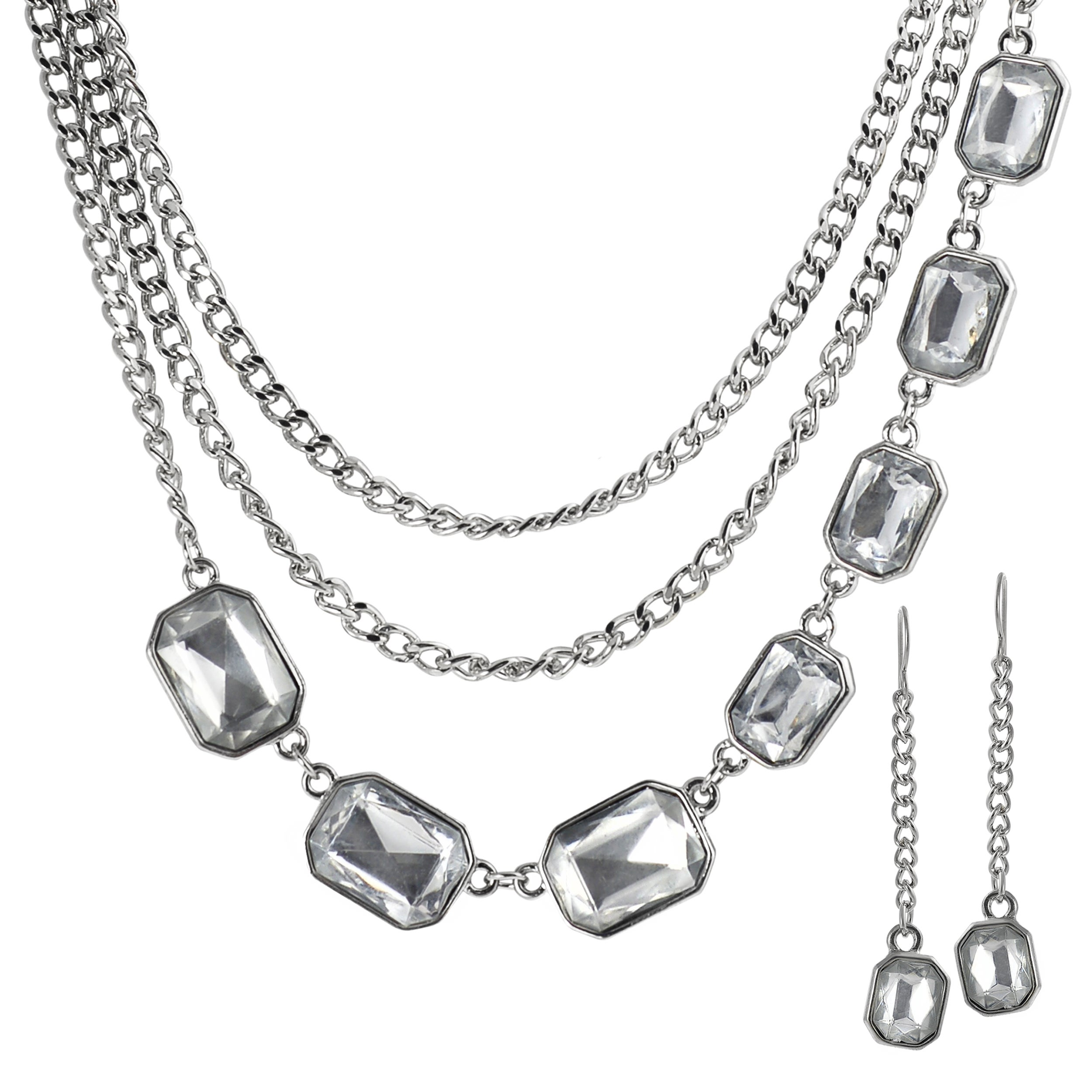 Journee Collection Silvertone Base Chain Crystal Necklace Earring Set