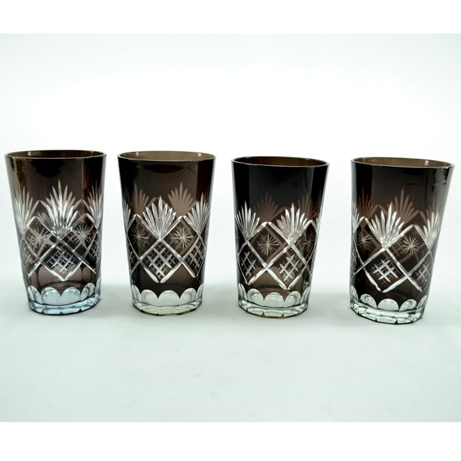 Three Star Hi Ball Black Wine Glass Set (Set of 4)