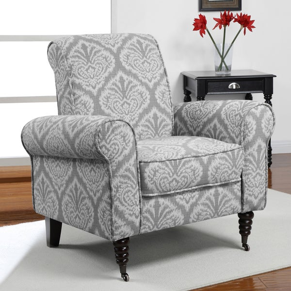 Grey Ikat Rolled Arms Arm Chair Chair