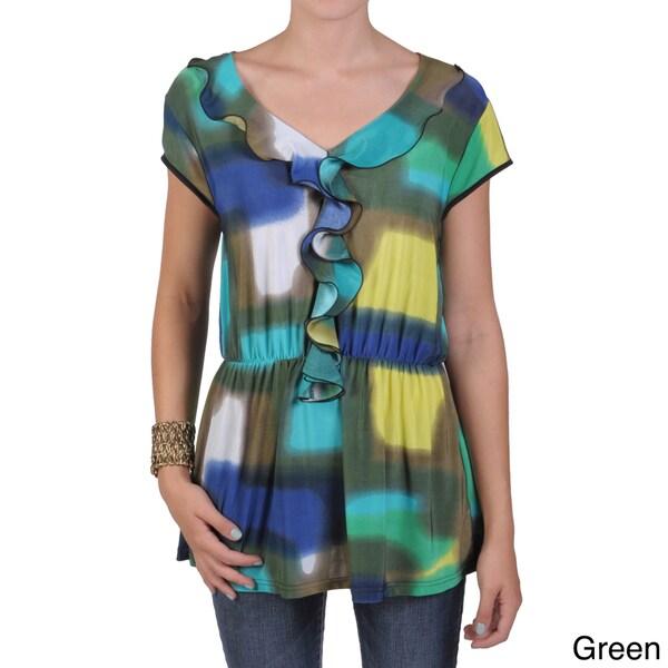 Tressa Designs Women's Contemporary Plus Cap Sleeve Ruffled Tunic