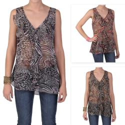 Tressa Designs Women's Contemporary Plus Sleeveless Animal Print Top