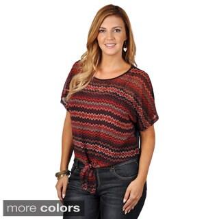 Tressa Designs Women's Plus Sheer Bottom Tie Top