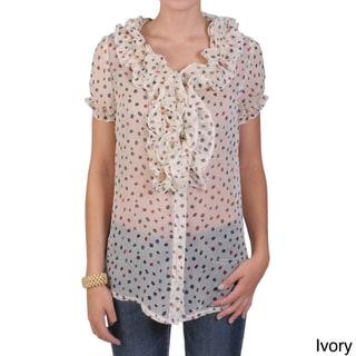 Tressa Designs Women's Contemporary Plus Sheer Ruffled Button-up Top