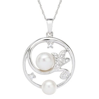 Pearlyta Sterling Silver White Cultured Pearl Necklace (8-9 mm)