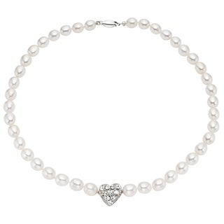 Pearlyta Sterling Silver Children's CZ Heart Rice Pearl Necklace