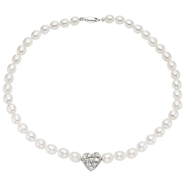 Pearlyta Sterling Silver Children's CZ Heart Rice Pearl Strand Necklace (5-6 mm)