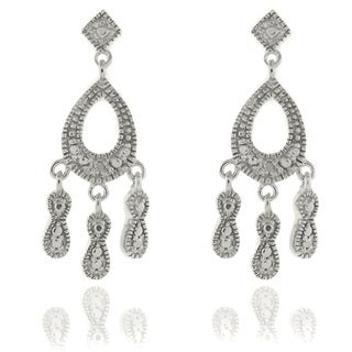Finesque Silver Overlay Diamond Accent Teardrop Chandelier Earrings