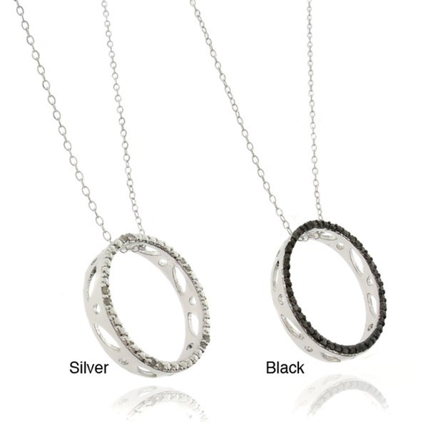Finesque Silverplated Diamond Accent Black or White Diamond Circle Pendant