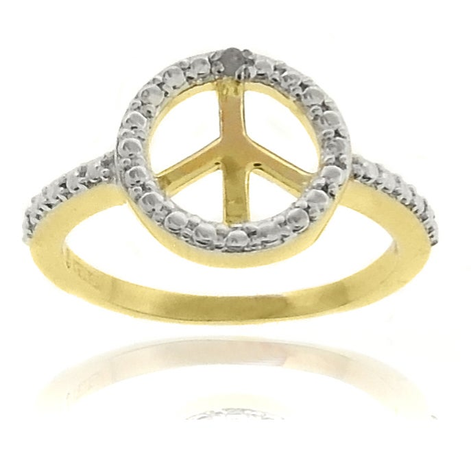 Finesque 18k Gold Overlay Diamond Accent Peace Symbol Ring