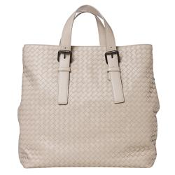 Bottega Veneta 'Intrecciato Light' Cream Leather Shopper Bag
