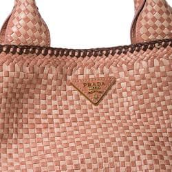 Prada Woven Rose Leather Madras Tote Bag