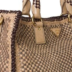 prada diaper bag - Prada Woven Tan/ Taupe Leather Madras Tote Bag - 14516810 ...