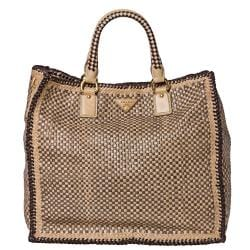 Prada Woven Tan/ Taupe Leather Madras Tote Bag