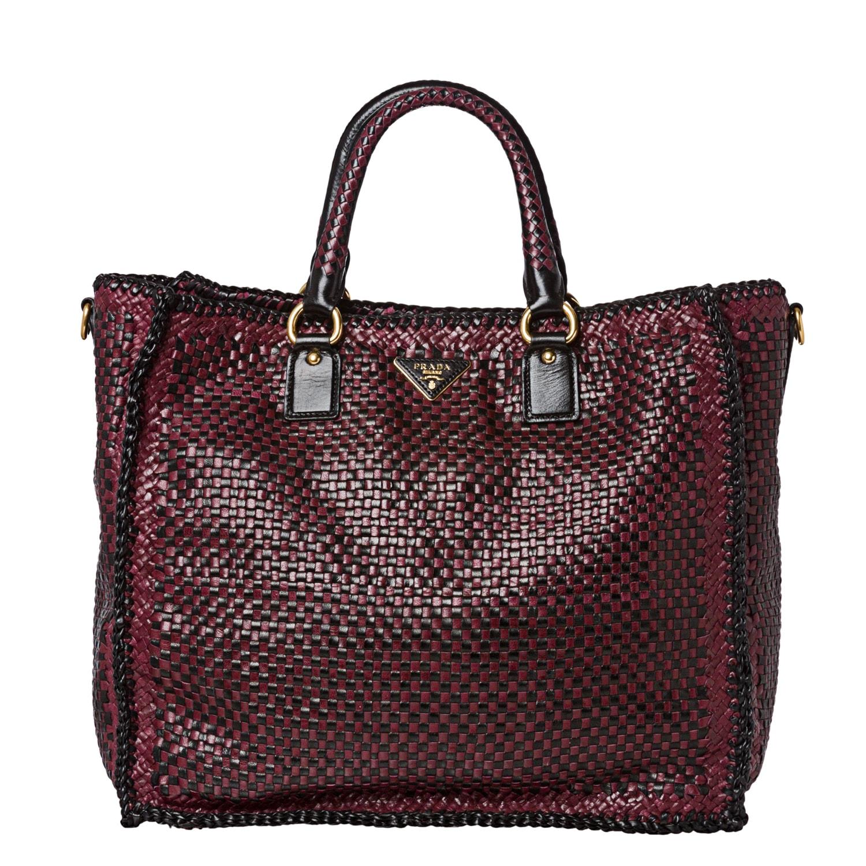 Prada Woven Burgundy/ Black Leather Madras Tote Bag - 14516811 ...