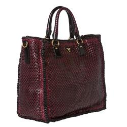 Prada Woven Burgundy/ Black Leather Madras Tote Bag - 14516811 ...