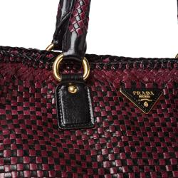 prada nylon bag collection - Prada Woven Burgundy/ Black Leather Madras Tote Bag - 14516811 ...