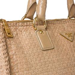 Prada Woven Sand Leather Madras Satchel