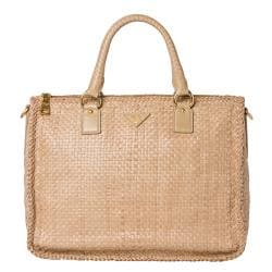 Prada Woven Sand Leather Madras Satchel