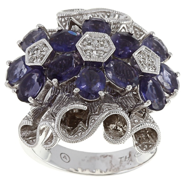 Beverly Hills Charm 14k Gold 3 1/3ct TGW Iolite and Diamond Accent Ring