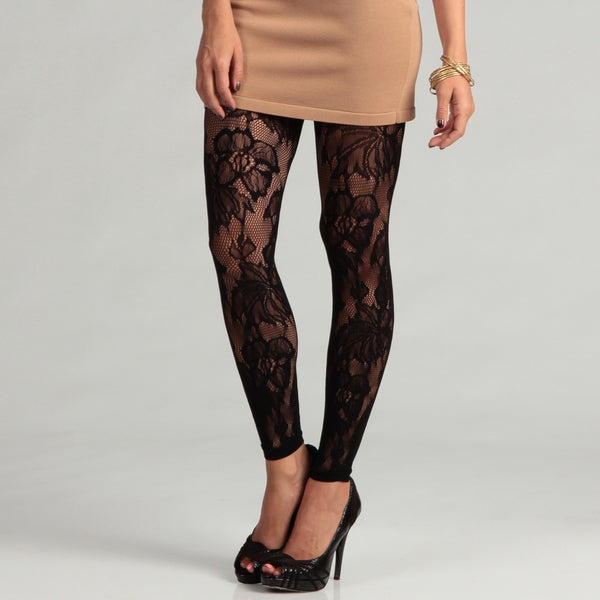 6126 By Lindsey Lohan Women's Black Flower Lace Legging