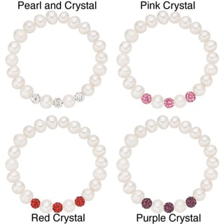 Pearlyta Children's Babies Pearl and Crystal Stretch Bracelet