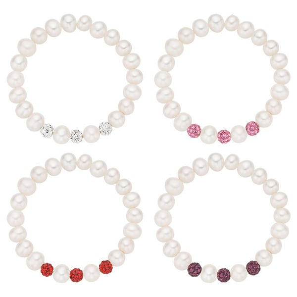 Pearlyta Children's Babies Freshwater Pearl and Crystal Stretch Bracelet (4-5mm)