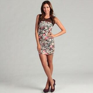YMI Junior's Tiered Floral Sleeveless Dress