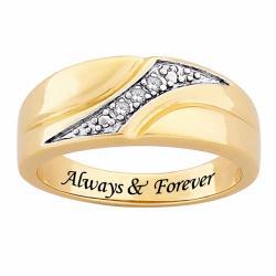 14k Gold Plated Diamond 'Always & Forever' Engraved Ring