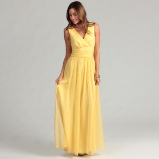 Prive Junior's Yellow Chiffon Drapped Gown
