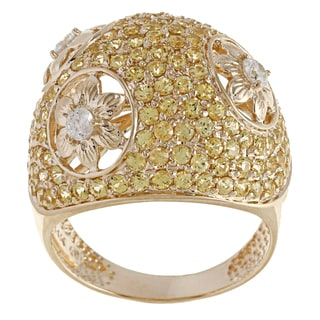 Beverly Hills Charm 14k Yellow Gold Yellow Sapphire and 1/4ct TDW Diamond Ring