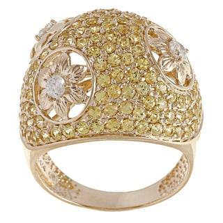 Beverly Hills Charm 14k Yellow Gold Yellow Sapphire and 1/4ct TDW Diamond Ring