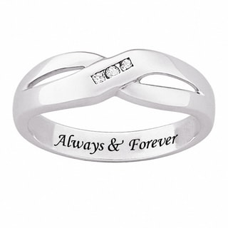 Sterling Silver Men's Engraved 'Always & Forever' Diamond Accent Wedding Band