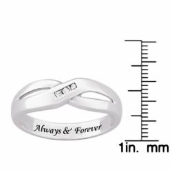 Sterling Silver Women's Engraved 'Always & Forever' Diamond Wedding Band