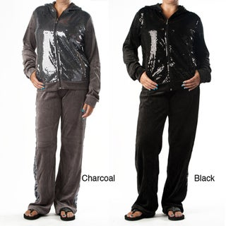 Tabeez Women's Plus-size Sequin Velour Track Suit